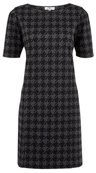 Dorothy Perkins Womens Tall Grey Dogtooth Checked Shift Dress, Grey