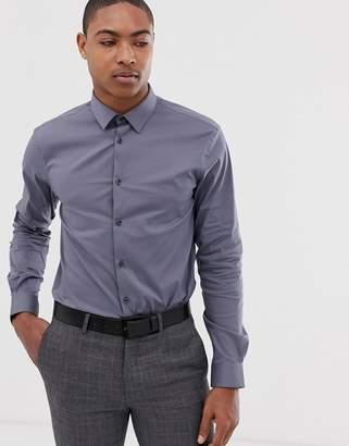 Celio slim fit smart shirt in charcoal-Grey