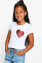 Boohoo Girls Glitter Heart Breaker Tee