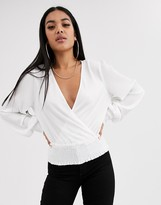Asos Design DESIGN plisse wrap top with shirred cuff and waist in ivory
