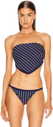 Solid & Striped Bianca Bikini Top in Navy & White Pinstripe | FWRD