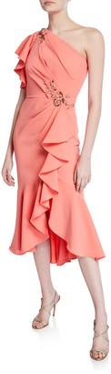 Marchesa Notte March Book One-Shoulder Ruffle-Sleeve Crepe Dress w/ Beaded Embroidery