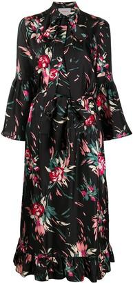La DoubleJ Floral Pussy-Bow Silk Shirt Dress