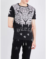 Philipp Plein Embellished Tiger-print Cotton-jersey T-shirt