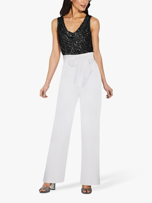 Adrianna Papell Crepe Satin Bow Pants, Ivory