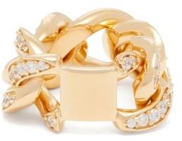 Bottega Veneta Pave-crystal Gold-plated Sterling-silver Ring - Gold