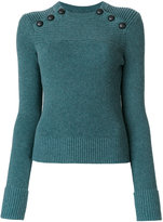Etoile Isabel Marant ribbed button detail sweater - women - Cotton/Wool - 36
