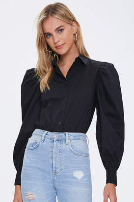 Forever 21 Balloon-Sleeve Shirt Bodysuit