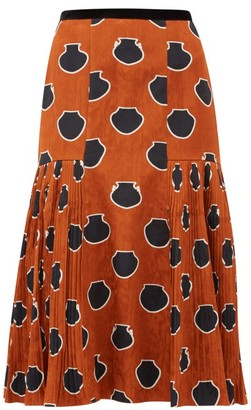 Johanna Ortiz Vase-print Floral-jacquard Skirt - Brown Multi
