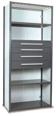 """Equipto V-Grip 84"""" Shelving with Drawers Unit - 4Drw/5Shelf Closed Starter, 4 drawers - (2) 4.5"""" & (2) 6"""" H; 200 lb capacity Equipto Finish: Textured Green,"""