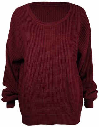 Ladies New Plain Chunky Knit Loose Baggy Oversized Jumper Tops Womens Long Sleeve Knitted Sweater Top Burgundy Maroon Size 16