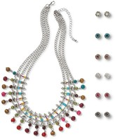 Women's Earring and Necklace Set with Multiple Stones and Beads - Multicolor