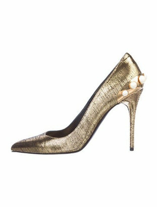 Alexander McQueen Faux Pearl Accents Leather Pumps Gold