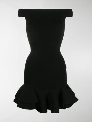 Alexander McQueen Off-Shoulder Ribbed-Knit Dress