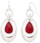 Liz Claiborne Red Stone Orbital Earrings