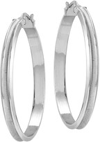Sterling Satin & Polished Hoop Earrings by Silver Style