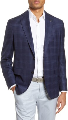 Ted Baker Karl Trim Fit Plaid Wool Travel Sport Coat