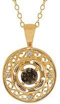 Gem Stone King 0.51 Ct Round Brown Smoky Quartz and White Diamond 14k Yellow Gold Pendant