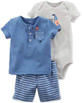 Carter's 3-Pc. Sailboat Cotton T-Shirt, Bodysuit and Shorts, Baby Boys