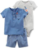 Carter's 3-Pc. Sailboat Cotton T-Shirt, Bodysuit & Shorts, Baby Boys