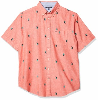 Tommy Hilfiger Size Men's Big and Tall Button Down Short Sleeve Shirt Oxford