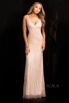 Scala 48554 V-Neckline Long Sequin Prom Dress