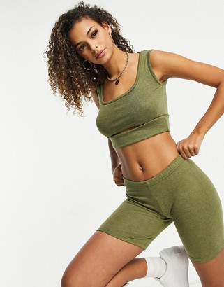UNIQUE21 knitted cut out crop top in burnt khaki