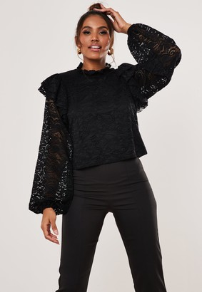 Missguided Black Lace Frill Shoulder Top