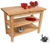 John Boos C03C-2S-TLR 60x24 Country Maple Tabel with Casters/2 Shelves/Towel Rack and Henckels 13-piece Knife Block Set