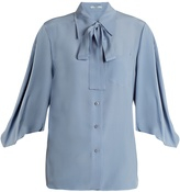 Prada Tie-neck silk crepe de Chine blouse