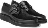 Lanvin - Buckled Calf Hair-panelled Leather Derby Shoes