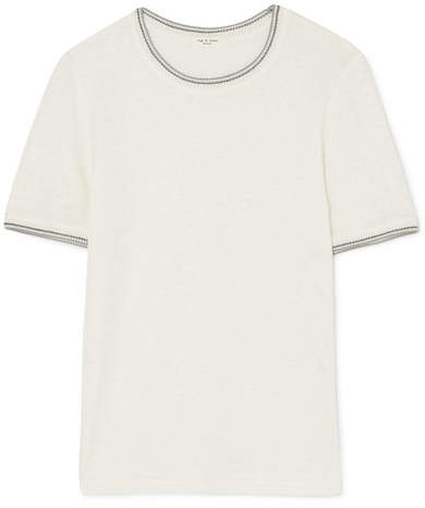 Rag & Bone Molly Crochet-trimmed Slub Linen T-shirt - White