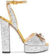 Gucci Embellished Glittered Leather Platform Sandals - Silver