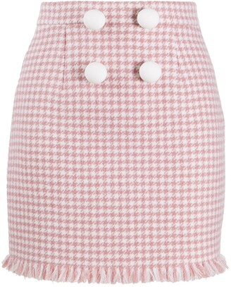 Loulou Houndstooth Mini Skirt
