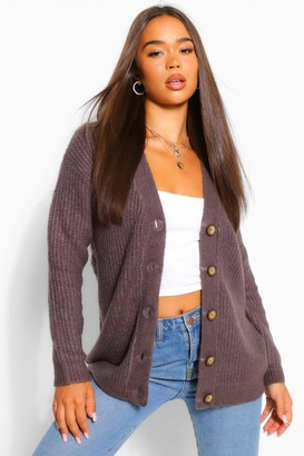 boohoo V Neck Fisherman Cardigan