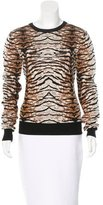 Torn By Ronny Kobo Jacquard Tiger Pattern Sweater