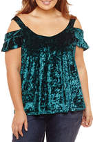Self Esteem Short Sleeve Velvet Blouse