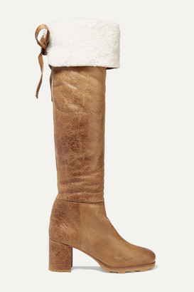 Miu Miu Shearling-trimmed Leather Knee Boots - Camel