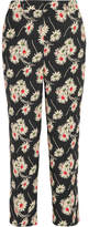 Prada Cropped Floral-print Crepe Wide-leg Pants - Black