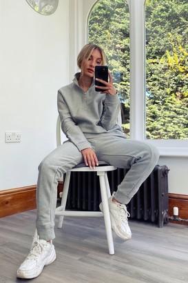 Topman Womens Grey Long Sleeve Twill 1/4 Zip Top - Grey