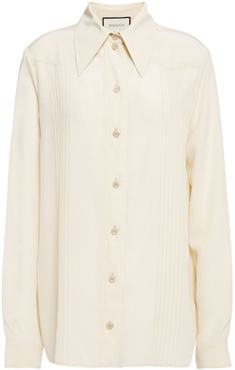 Gucci Pintucked Silk Crepe De Chine Shirt