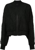 Vera Wang sheer back lace bomber jacket