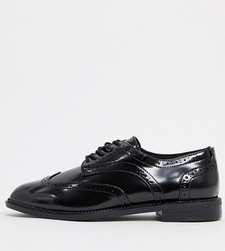 ASOS DESIGN Wide Fit More flat lace up shoes in black