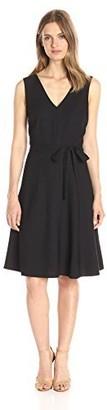 Lark & Ro Amazon Brand Women's Sleeveless Double-V Fit and Flare Dress