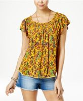 Self Esteem Juniors' Printed Necklace Peasant Top