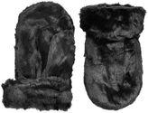 Topman Black Faux Fur Mittens