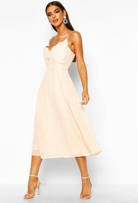 boohoo Crochet Lace Strappy Chiffon Midi Bridesmaid Dress