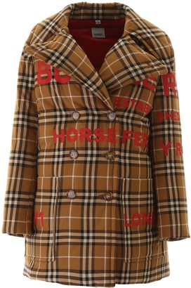 Burberry Double Breasted Horseferry Printed Coat