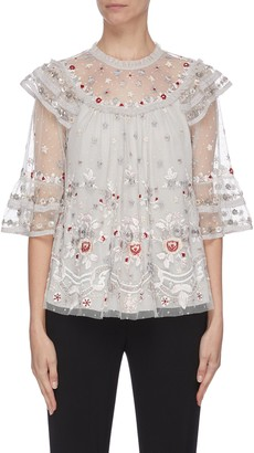 Needle & Thread 'Eden' floral embroidered sequin embellished lace trim ruffle flared tulle top
