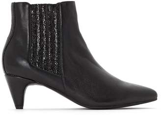 La Redoute Collections Leather Ankle Boots with Sparkly Detail